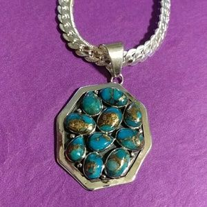 Nwt! 18 inch sterling chain with turquoise pendant